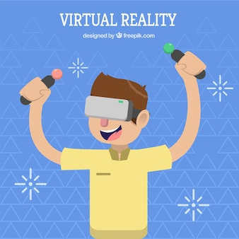 Background of boy playing with virtual reality controls