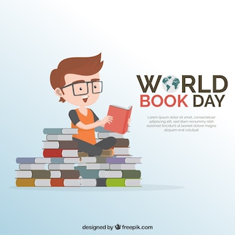 Background of boy with glasses reading