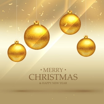 Background of bright golden christmas balls