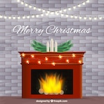 Background of burning fireplace with christmas ornaments
