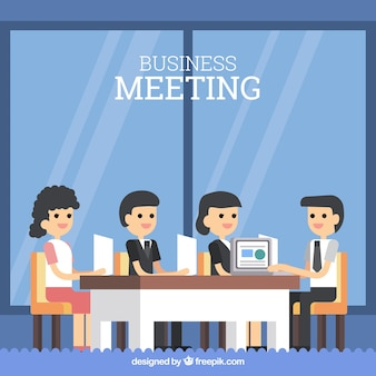 Background of business meeting in flat design