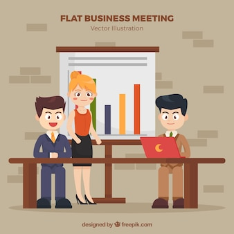 Background of business meeting with nice characters
