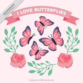 Background of butterflies and roses with leaves