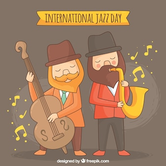 Background of characters playing musical instruments on jazz day