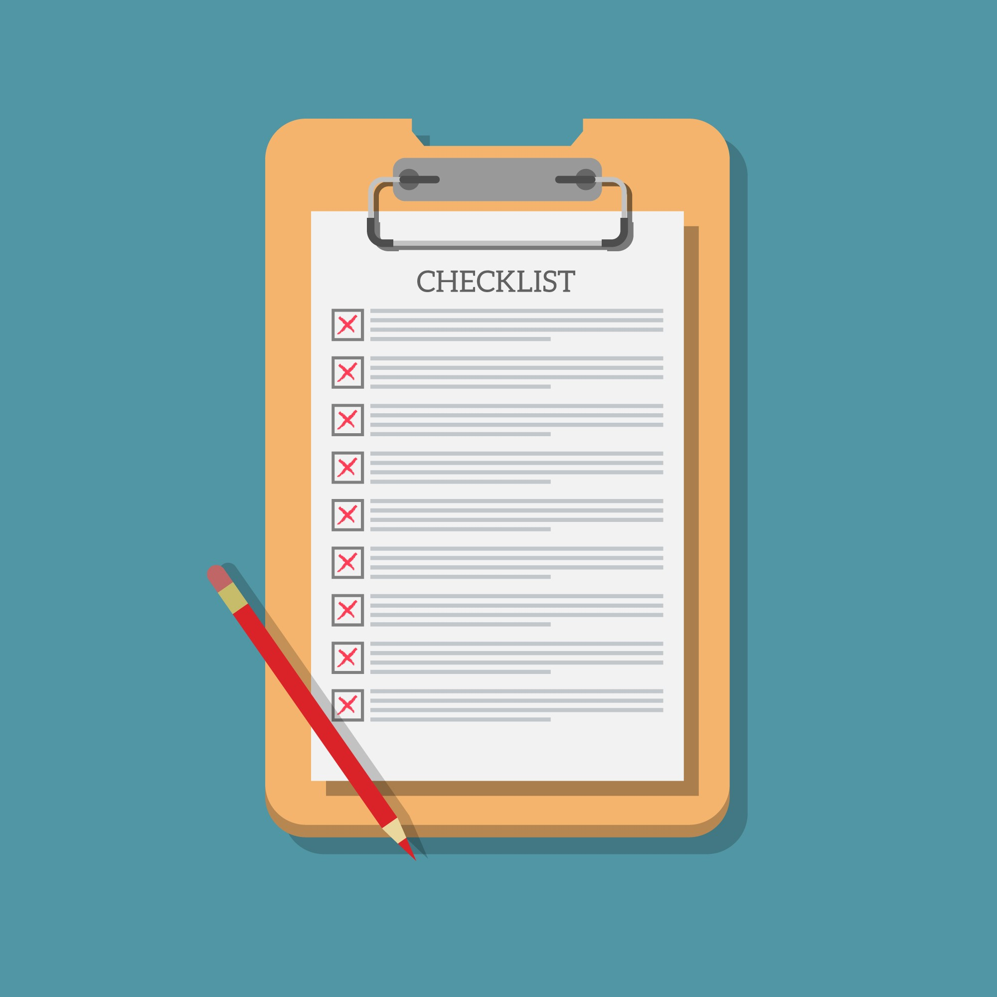 Background of checklist with red pencil
