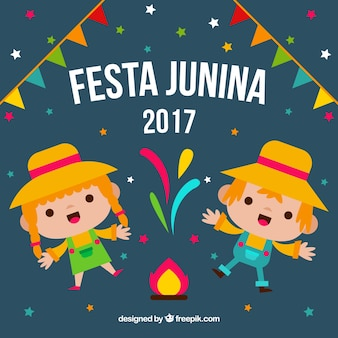 Background of cheerful characters celebrating festa junina