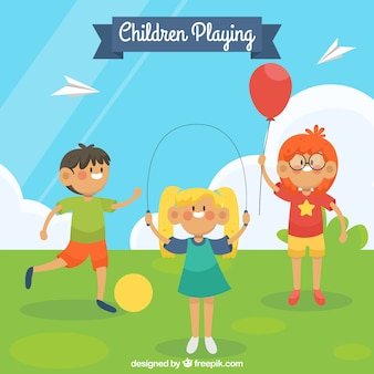 Background of children in the park playing