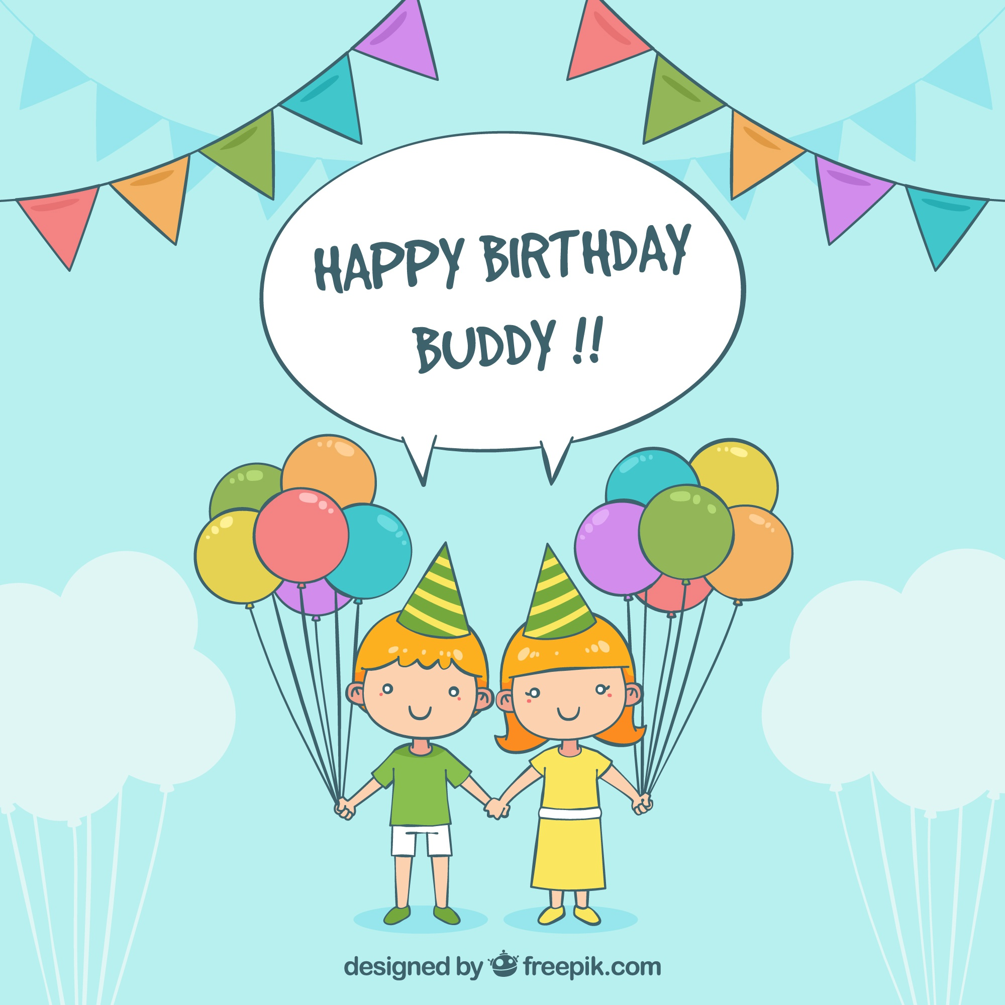 Background of children with birthday balloons