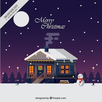 Background of christmas house in a cute landscape in flat design