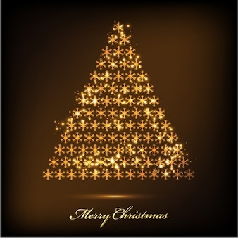 Background of christmas tree made with golden snowflakes