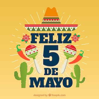 Background of cinco de mayo with mexican elements