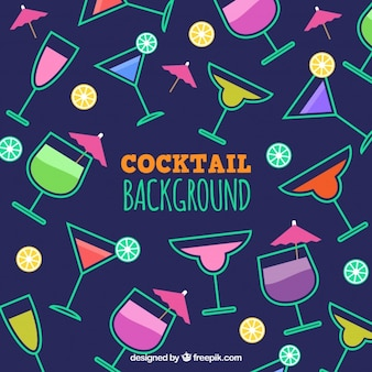 Background of cocktail glasses in flat design