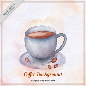 水彩画のスタイルでコーヒーマグの背景