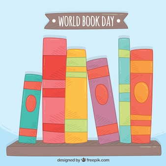 Background of colored books for world book day