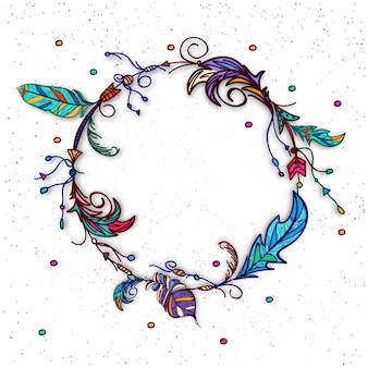 Background of colored feather wreath