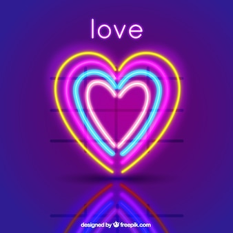 Background of colorful hearts with neon lights