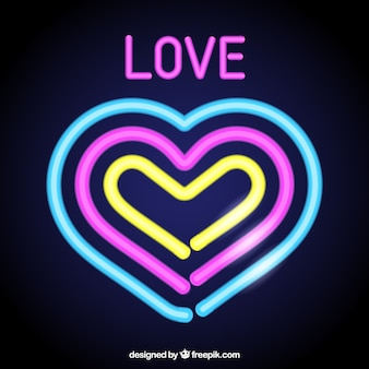 Background of colorful neon hearts