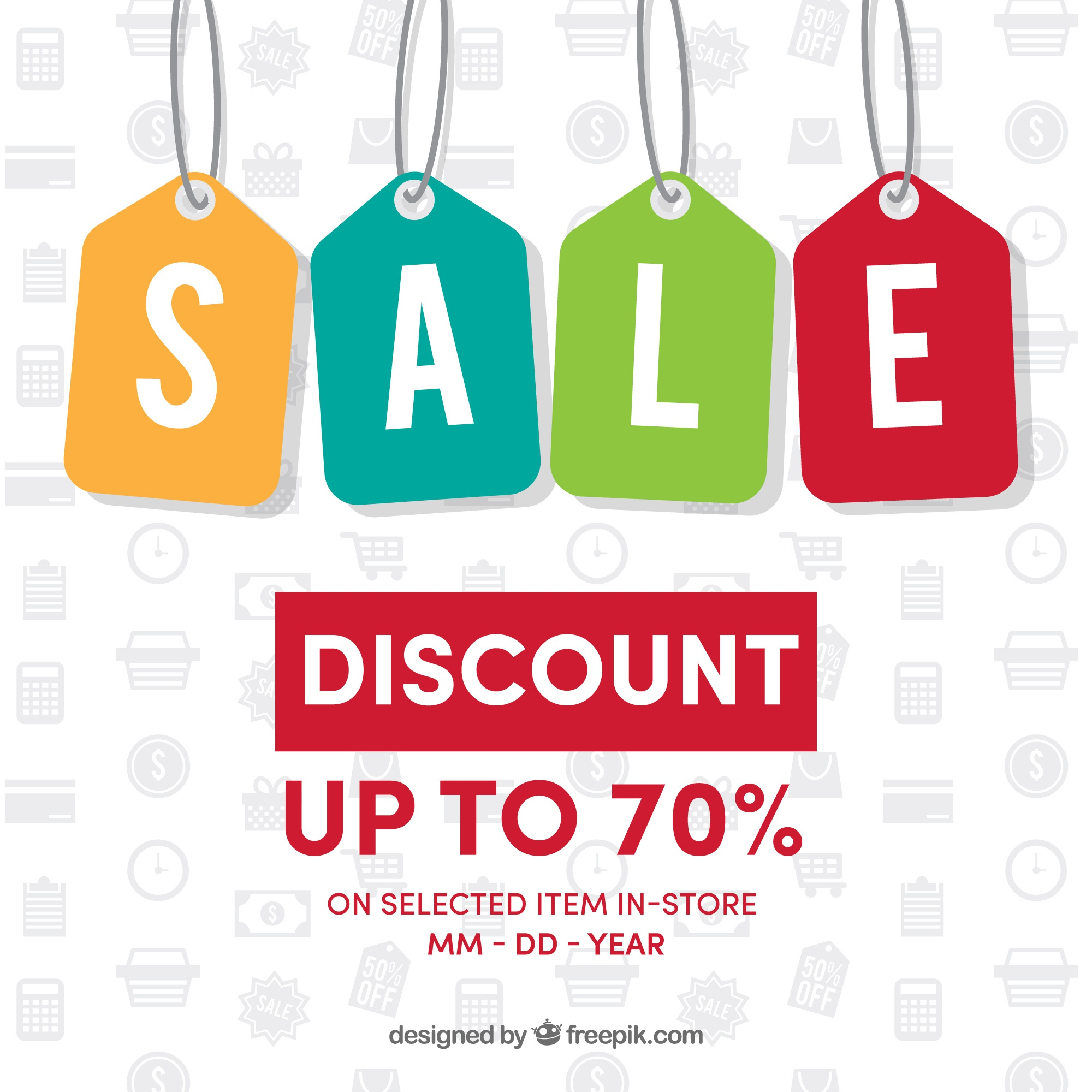 Background of colorful sale labels