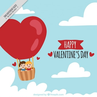 バレンタインデーのための熱気球上のカップルの背景