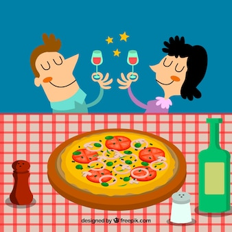 Background of couple toasting with a delicious pizza