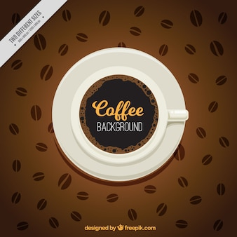 Background of cup with coffee beans