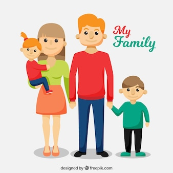 Background of cute family in flat design