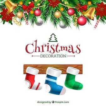 Background of decorative christmas socks