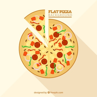Background of delicious pizza in flat design