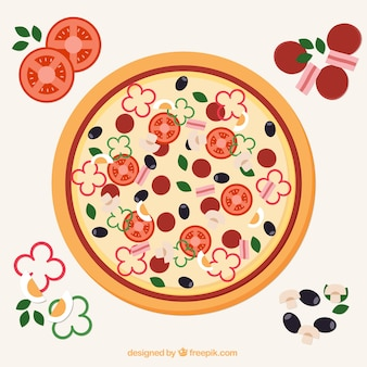 Background of delicious pizza with ingredients