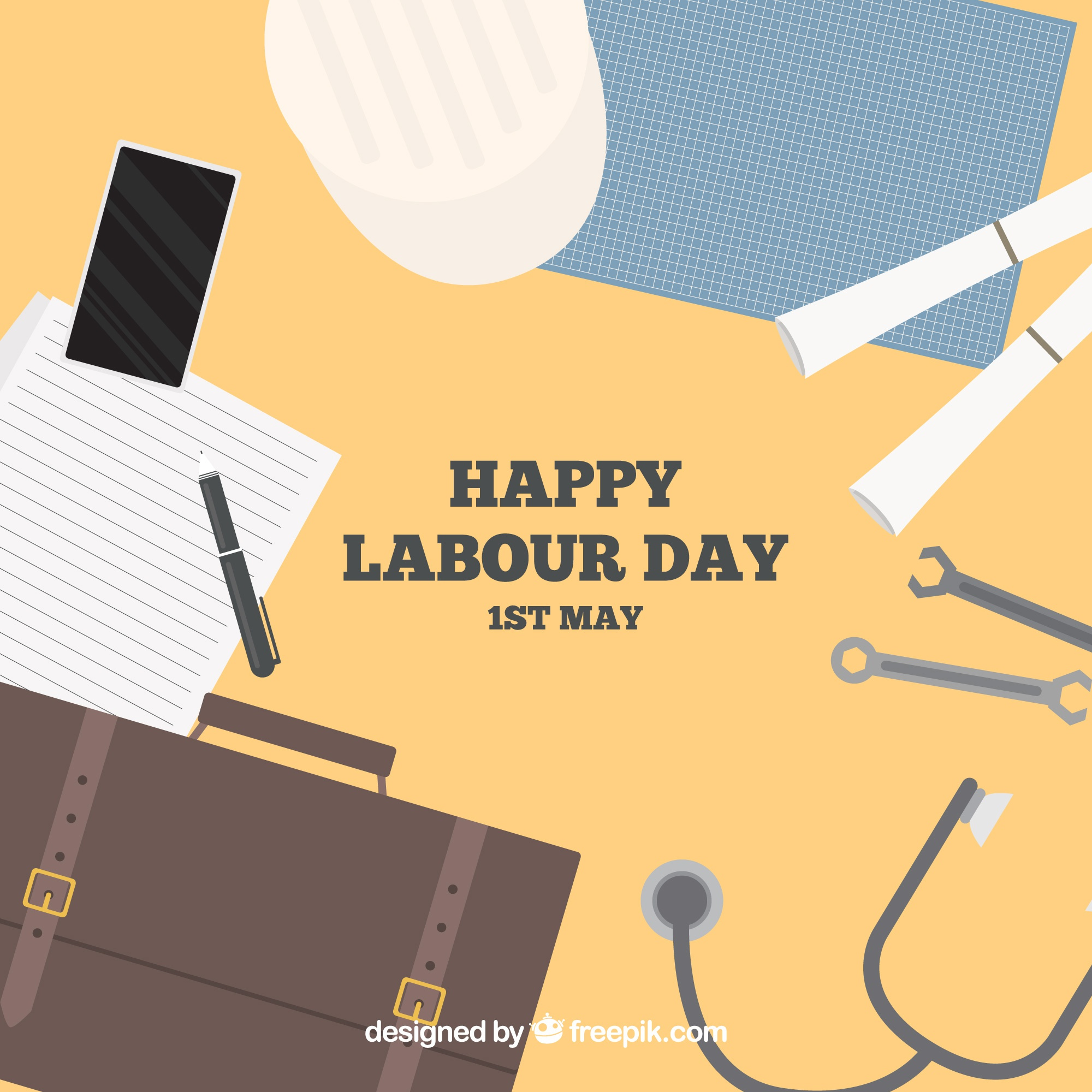 Background of desktop with objects for labour day