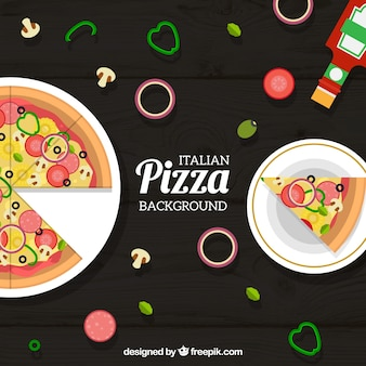 Background of dishes with delicious pizzas