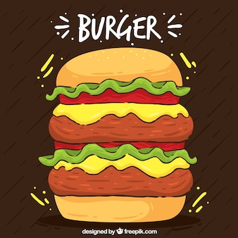 Background of double burger in hand-drawn style