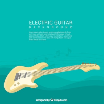 Background of electric guitar and wavy forms