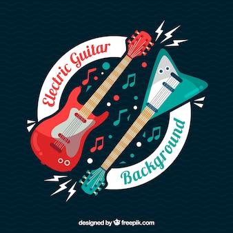 フラットデザインのエレクトリックギターの背景