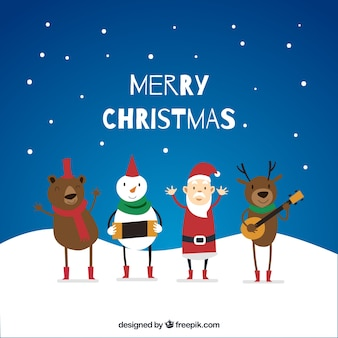 Background of enjoyable christmas characters playing music under the snow