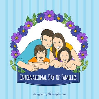 Background of family illustration with floral details