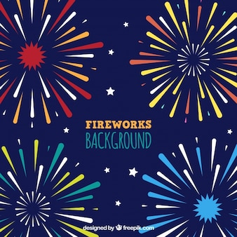 Background of fireworks in flat design