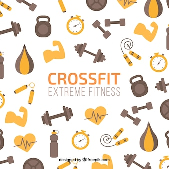 Background of fitness elements in flat design