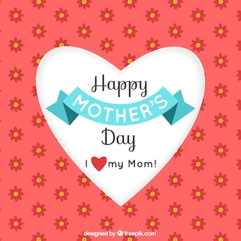Background of flowers and heart of mother's day
