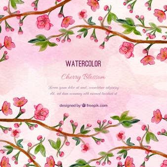 Background of flowers branches and watercolor leaves