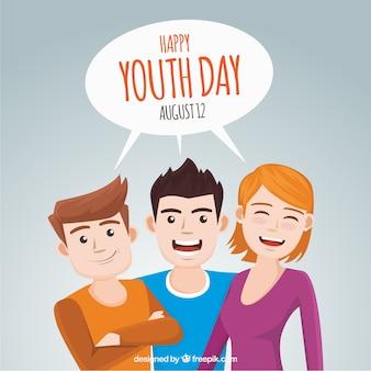 青春の日を祝う友人の背景