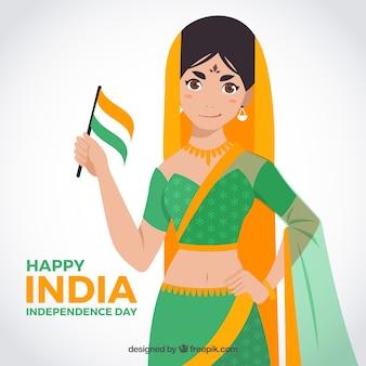 インドの独立日を祝う女の子の背景