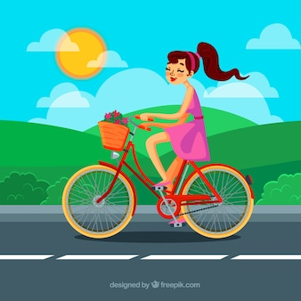 Background of girl on a nice bicycle