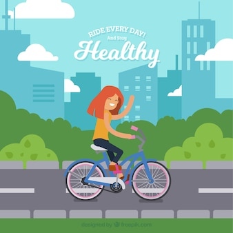 Background of girl on bicycle in the city