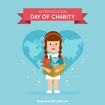 Background of girl with a box with accessories for the day of charity