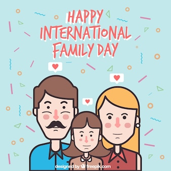 Background of girl with her parents for family day