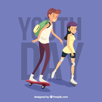 Background of girl with skates and boy with skateboard