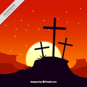 Background of Good Friday landscape at sunset