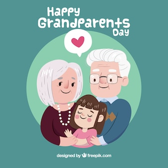 Background of grandparents with their cute granddaughter