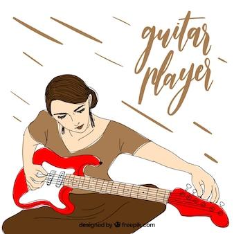 彼女のギターを準備するギタープレーヤーの背景